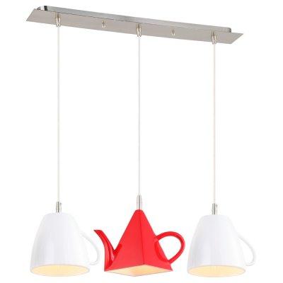 Светильник Arte lamp A6605SP-3WH CAFFETTERIAТройные<br>Светильник в виде красного чайника и белых чашек - оригинальное решение для установки в обеденной зоне<br><br>S освещ. до, м2: 6<br>Тип лампы: Накаливания / энергосбережения / светодиодная<br>Тип цоколя: E14<br>Количество ламп: 3<br>Ширина, мм: 150<br>Длина, мм: 670<br>Высота, мм: 210<br>MAX мощность ламп, Вт: 40
