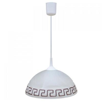 Светильник греческий Arte lamp A6630SP-1WH CucinaДля кухни<br>Подвесной светильник с греческим узором на одну лампу регулируется по высоте и подходит в основном для кухни и обеденных зон в доме.<br><br>S освещ. до, м2: 4<br>Тип лампы: накал-я - энергосбер-я<br>Тип цоколя: E27<br>Количество ламп: 1<br>Ширина, мм: 300<br>MAX мощность ламп, Вт: 60<br>Диаметр, мм мм: 300<br>Длина цепи/провода, мм: 400<br>Высота, мм: 200<br>Цвет арматуры: белый