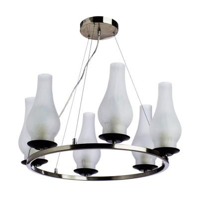 Люстра керосинка Arte lamp A6801SP-6BR LOMBARDYПодвесные<br>Компания «Светодом» предлагает широкий ассортимент люстр от известных производителей. Представленные в нашем каталоге товары выполнены из современных материалов и обладают отличным качеством. Благодаря широкому ассортименту Вы сможете найти у нас люстру под любой интерьер. Мы предлагаем как классические варианты, так и современные модели, отличающиеся лаконичностью и простотой форм. <br>Стильная люстра с плафонами от керосиновой лампы матового цвета Arte lamp A6801SP-6BR станет украшением любого дома в соответствующем стиле. Эта модель от известного производителя не оставит равнодушным ценителей красивых и оригинальных предметов интерьера. Люстра Arte lamp A6801SP-6BR обеспечит равномерное распределение света по всей комнате. При выборе обратите внимание на характеристики, позволяющие приобрести наиболее подходящую модель. <br>Купить понравившуюся люстру по доступной цене Вы можете в интернет-магазине «Светодом».<br><br>Установка на натяжной потолок: Да<br>S освещ. до, м2: 18<br>Крепление: Планка<br>Тип лампы: Накаливания / энергосбережения / светодиодная<br>Тип цоколя: E14<br>Цвет арматуры: коричневый<br>Количество ламп: 6<br>Диаметр, мм мм: 600<br>Размеры: H30xW60xL60+шн/цп120<br>Высота, мм: 300 - 1500<br>MAX мощность ламп, Вт: 60