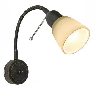 Светильник настенный бра Arte lamp A7009AP-1BR LETTURAСветильники на гибкой ножке<br><br><br>Тип цоколя: E14<br>Цвет арматуры: коричневый<br>Количество ламп: 1<br>Размеры: H25xW9xL7<br>MAX мощность ламп, Вт: 40