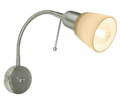 Светильник настенный бра Arte lamp A7009AP-1SS LETTURAГибкие<br><br><br>Тип цоколя: E14<br>Цвет арматуры: серебристый<br>Количество ламп: 1<br>Размеры: H25xW9xL7<br>MAX мощность ламп, Вт: 40