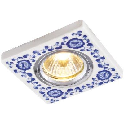 Светильник гжель Arte lamp A7034PL-1WH RussoКвадратные<br>Встраиваемые светильники – популярное осветительное оборудование, которое можно использовать в качестве основного источника или в дополнение к люстре. Они позволяют создать нужную атмосферу атмосферу и привнести в интерьер уют и комфорт.   Интернет-магазин «Светодом» предлагает стильный встраиваемый светильник ARTE Lamp A7034PL-1WH. Данная модель достаточно универсальна, поэтому подойдет практически под любой интерьер. Перед покупкой не забудьте ознакомиться с техническими параметрами, чтобы узнать тип цоколя, площадь освещения и другие важные характеристики.   Приобрести встраиваемый светильник ARTE Lamp A7034PL-1WH в нашем онлайн-магазине Вы можете либо с помощью «Корзины», либо по контактным номерам. Мы доставляем заказы по Москве, Екатеринбургу и остальным российским городам.<br><br>Тип лампы: галогенная<br>Тип цоколя: GU5.3 (MR16)<br>Ширина, мм: 94<br>MAX мощность ламп, Вт: 50<br>Диаметр врезного отверстия, мм: 65<br>Длина, мм: 94<br>Высота, мм: 10