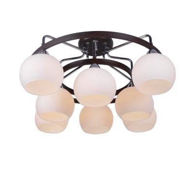 Светильник Arte lamp A7148PL-8CK EMPOLIПотолочные<br>Компания «Светодом» предлагает широкий ассортимент люстр от известных производителей. Представленные в нашем каталоге товары выполнены из современных материалов и обладают отличным качеством. Благодаря широкому ассортименту Вы сможете найти у нас люстру под любой интерьер. Мы предлагаем как классические варианты, так и современные модели, отличающиеся лаконичностью и простотой форм.  Стильная люстра Arte lamp A7148PL-8CK станет украшением любого дома. Эта модель от известного производителя не оставит равнодушным ценителей красивых и оригинальных предметов интерьера. Люстра Arte lamp A7148PL-8CK обеспечит равномерное распределение света по всей комнате. При выборе обратите внимание на характеристики, позволяющие приобрести наиболее подходящую модель. Купить понравившуюся люстру по доступной цене Вы можете в интернет-магазине «Светодом».<br><br>Установка на натяжной потолок: Да<br>S освещ. до, м2: 16<br>Крепление: Планка<br>Тип лампы: накал-я - энергосбер-я<br>Тип цоколя: E14<br>Цвет арматуры: черный<br>Количество ламп: 8<br>Диаметр, мм мм: 690<br>Высота, мм: 340<br>MAX мощность ламп, Вт: 40