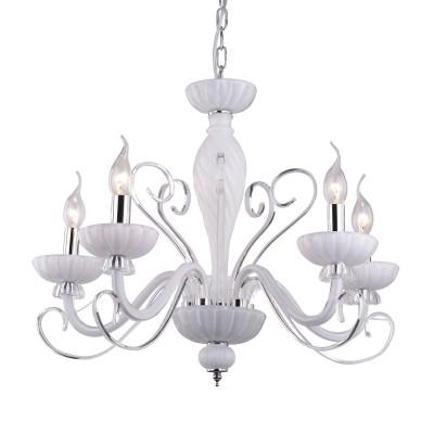 A7195LM-5WH Arte lamp СветильникПодвесные<br><br><br>Установка на натяжной потолок: Да<br>S освещ. до, м2: 10<br>Крепление: крюк<br>Тип цоколя: E14<br>Количество ламп: 5<br>MAX мощность ламп, Вт: 40W<br>Диаметр, мм мм: 580<br>Длина цепи/провода, мм: 600<br>Размеры: D610*H500<br>Длина, мм: 580<br>Высота, мм: 480<br>Цвет арматуры: БЕЛЫЙ<br>Общая мощность, Вт: 40W