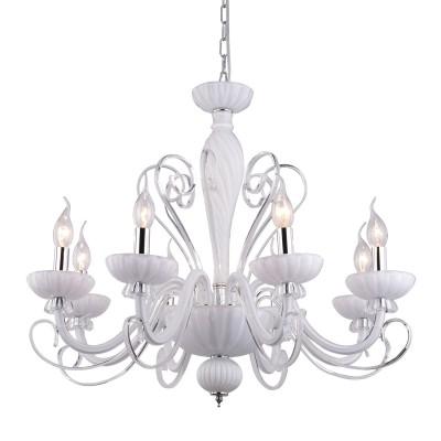 A7195LM-8WH Arte lamp СветильникПодвесные<br><br><br>Установка на натяжной потолок: Да<br>S освещ. до, м2: 16<br>Крепление: крюк<br>Тип цоколя: E14<br>Цвет арматуры: БЕЛЫЙ<br>Количество ламп: 8<br>Диаметр, мм мм: 710<br>Длина цепи/провода, мм: 600<br>Размеры: D710*H560<br>Длина, мм: 710<br>Высота, мм: 560<br>MAX мощность ламп, Вт: 40W<br>Общая мощность, Вт: 40W