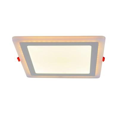 A7524PL-2WH Arte lamp СветильникКвадратные<br><br><br>Цветовая t, К: 3000K/4000K<br>Тип цоколя: LED<br>Количество ламп: 2<br>MAX мощность ламп, Вт: 18W/6W<br>Диаметр, мм мм: 245<br>Размеры: 242MM<br>Диаметр врезного отверстия, мм: 20,5x20,5<br>Длина, мм: 245<br>Высота, мм: 25<br>Цвет арматуры: БЕЛЫЙ<br>Общая мощность, Вт: 18 - 6W