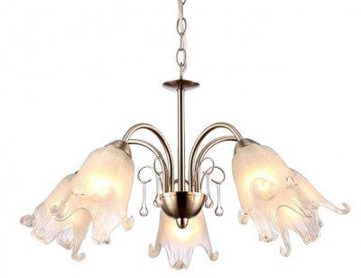 Светильник подвесной Arte lamp A7957LM-5SS SUSSURROПодвесные<br><br><br>Установка на натяжной потолок: Да<br>S освещ. до, м2: 10<br>Крепление: Крюк<br>Тип товара: Светильник подвесной<br>Тип лампы: Накаливания / энергосбережения / светодиодная<br>Тип цоколя: E27<br>Количество ламп: 5<br>MAX мощность ламп, Вт: 40<br>Размеры: H33xW53xL53+шн/цп50<br>Цвет арматуры: серебристый