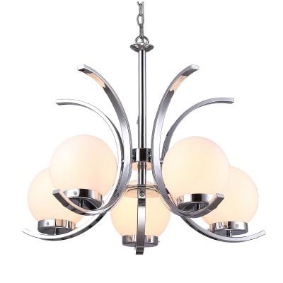 Светильник подвесной Arte lamp A8055LM-5CC Claudiaсовременные подвесные люстры модерн<br><br><br>Установка на натяжной потолок: Да<br>S освещ. до, м2: 10<br>Крепление: Крюк<br>Тип лампы: Накаливания / энергосбережения / светодиодная<br>Тип цоколя: E14<br>Цвет арматуры: Серебристый хром<br>Количество ламп: 5<br>Диаметр, мм мм: 610<br>Длина цепи/провода, мм: 1000<br>Размеры: D612*H1500MM<br>Длина, мм: 610<br>Высота, мм: 450<br>MAX мощность ламп, Вт: 40W<br>Общая мощность, Вт: 40W