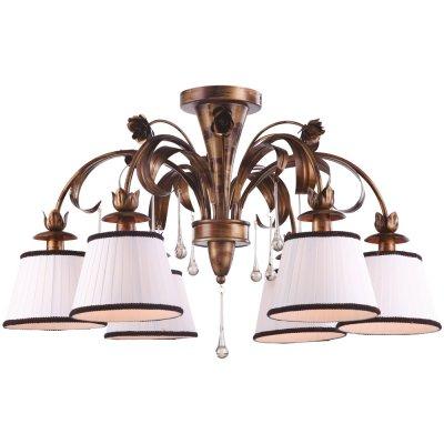 Потолочная люстра Arte lamp A8100PL-6GA BorgiaПотолочные<br>Компания «Светодом» предлагает широкий ассортимент люстр от известных производителей. Представленные в нашем каталоге товары выполнены из современных материалов и обладают отличным качеством. Благодаря широкому ассортименту Вы сможете найти у нас люстру под любой интерьер. Мы предлагаем как классические варианты, так и современные модели, отличающиеся лаконичностью и простотой форм.  Стильная люстра Arte lamp A8100PL-6GA станет украшением любого дома. Эта модель от известного производителя не оставит равнодушным ценителей красивых и оригинальных предметов интерьера. Люстра Arte lamp A8100PL-6GA обеспечит равномерное распределение света по всей комнате. При выборе обратите внимание на характеристики, позволяющие приобрести наиболее подходящую модель. Купить понравившуюся люстру по доступной цене Вы можете в интернет-магазине «Светодом».<br><br>Установка на натяжной потолок: Да<br>S освещ. до, м2: 12<br>Крепление: Планка<br>Тип лампы: накаливания / энергосбережения / LED-светодиодная<br>Тип цоколя: E14<br>Цвет арматуры: золотой<br>Количество ламп: 6<br>Диаметр, мм мм: 780<br>Высота, мм: 490<br>Оттенок (цвет): белый<br>MAX мощность ламп, Вт: 40