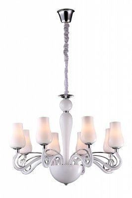 Люстра Arte lamp A8110LM-8WH BiancaneveПодвесные<br><br><br>Установка на натяжной потолок: Да<br>S освещ. до, м2: 21<br>Крепление: Крюк<br>Тип товара: Люстра подвесная<br>Скидка, %: 12<br>Тип лампы: накаливания / энергосбережения / LED-светодиодная<br>Тип цоколя: E14<br>Количество ламп: 8<br>MAX мощность ламп, Вт: 40<br>Диаметр, мм мм: 730<br>Высота, мм: 550 - 1200