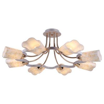 Люстра Arte lamp A8182PL-8WG RomolaПотолочные<br>Отличную модель светильника Arte lamp A8182PL-8WG из серии ROMOLA производства Италии возможно купить оптом и в розницу на официальном сайте интернет-магазина Светодом.<br><br>Установка на натяжной потолок: Ограничено<br>S освещ. до, м2: 32<br>Крепление: Планка<br>Тип лампы: накаливания / энергосбережения / LED-светодиодная<br>Тип цоколя: E14<br>Количество ламп: 8<br>MAX мощность ламп, Вт: 60<br>Диаметр, мм мм: 74<br>Высота, мм: 29<br>Цвет арматуры: белый с золотистой патиной