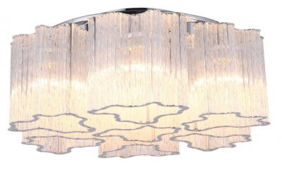 Светильник потолочный Arte lamp A8567PL-7CL DILETTOПотолочные<br><br><br>Установка на натяжной потолок: Ограничено<br>S освещ. до, м2: 14<br>Крепление: Планка<br>Тип товара: Светильник потолочный<br>Тип лампы: Накаливания / энергосбережения / светодиодная<br>Тип цоколя: E14<br>Количество ламп: 7<br>MAX мощность ламп, Вт: 40<br>Размеры: H18xW50xL50<br>Цвет арматуры: серебристый