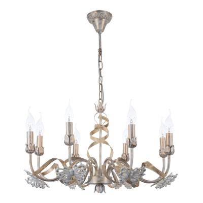 A8626LM-8WG Arte lamp СветильникПодвесные<br><br><br>Установка на натяжной потолок: Да<br>S освещ. до, м2: 16<br>Крепление: крюк<br>Тип цоколя: E14<br>Количество ламп: 8<br>MAX мощность ламп, Вт: 40W<br>Диаметр, мм мм: 620<br>Длина цепи/провода, мм: 400<br>Размеры: D620*H(375+395)mm<br>Длина, мм: 620<br>Высота, мм: 380<br>Цвет арматуры: белый-ЗОЛОТОЙ<br>Общая мощность, Вт: 40W