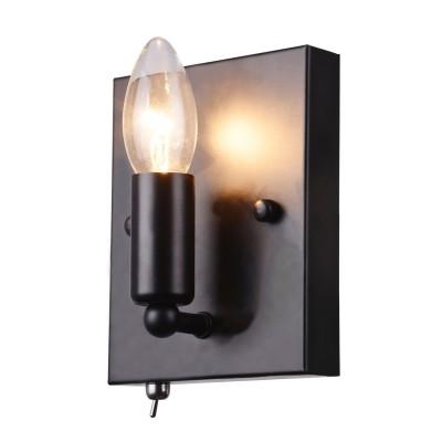 Светильник бра Arte lamp A8811AP-1BKбра в стиле лофт<br><br><br>Тип лампы: Накаливания / энергосбережения / светодиодная<br>Тип цоколя: E14<br>Цвет арматуры: черный<br>Количество ламп: 1<br>Ширина, мм: 120<br>Расстояние от стены, мм: 80<br>Высота, мм: 150<br>Поверхность арматуры: матовая<br>Оттенок (цвет): черный<br>MAX мощность ламп, Вт: 40