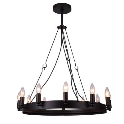 Светильник Arte lamp A8811SP-12BKлюстры подвесные классические<br><br><br>Тип лампы: Накаливания / энергосбережения / светодиодная<br>Тип цоколя: E14<br>Цвет арматуры: черный<br>Количество ламп: 12<br>Диаметр, мм мм: 1060<br>Высота, мм: 1100<br>Поверхность арматуры: матовая<br>Оттенок (цвет): черный<br>MAX мощность ламп, Вт: 40<br>Общая мощность, Вт: 480
