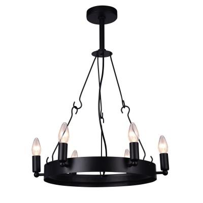 Светильник Arte lamp A8811SP-6BKПодвесные<br><br><br>Тип лампы: Накаливания / энергосбережения / светодиодная<br>Тип цоколя: E14<br>Цвет арматуры: черный<br>Количество ламп: 6<br>Диаметр, мм мм: 700<br>Высота, мм: 850<br>Поверхность арматуры: матовая<br>Оттенок (цвет): черный<br>MAX мощность ламп, Вт: 40<br>Общая мощность, Вт: 240