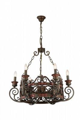 Подвесная люстра Arte lamp A8852LM-6BR CapitelloПодвесные<br><br><br>Установка на натяжной потолок: Да<br>S освещ. до, м2: 24<br>Крепление: Крюк<br>Тип товара: Люстра подвесная<br>Тип лампы: накаливания / энергосбережения / LED-светодиодная<br>Тип цоколя: E14<br>Количество ламп: 6<br>MAX мощность ламп, Вт: 60<br>Диаметр, мм мм: 760<br>Высота, мм: 800<br>Цвет арматуры: коричневый