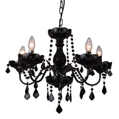 Черная люстра A8918LM-5BK Arte lampПодвесные<br><br><br>Установка на натяжной потолок: Да<br>S освещ. до, м2: 10<br>Крепление: крюк<br>Тип лампы: Накаливания / энергосбережения / светодиодная<br>Тип цоколя: E14<br>Цвет арматуры: ЧЕРНЫЙ<br>Количество ламп: 5<br>Диаметр, мм мм: 580<br>Длина цепи/провода, мм: 450<br>Размеры: D500<br>Длина, мм: 580<br>Высота, мм: 350<br>MAX мощность ламп, Вт: 40W<br>Общая мощность, Вт: 40W