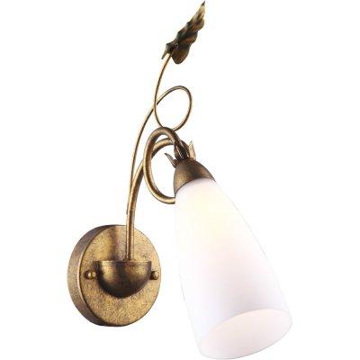 Бра Arte lamp A8935AP-1GA Tipicoбра флористика и цветы<br><br><br>S освещ. до, м2: 2<br>Тип лампы: накаливания / энергосбережения / LED-светодиодная<br>Тип цоколя: E14<br>Цвет арматуры: Желтый, Золото<br>Количество ламп: 1<br>Ширина, мм: 120<br>Длина, мм: 350<br>Высота, мм: 370<br>Оттенок (цвет): белый<br>MAX мощность ламп, Вт: 40