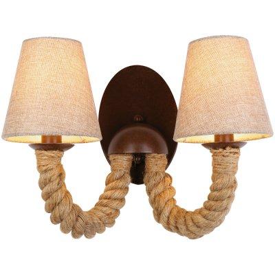 Бра Arte lamp A8958AP-2BR CordaМодерн<br><br><br>S освещ. до, м2: 4<br>Тип товара: Светильник настенный бра<br>Скидка, %: 8<br>Тип лампы: накаливания / энергосбережения / LED-светодиодная<br>Тип цоколя: E14<br>Количество ламп: 2<br>Ширина, мм: 230<br>MAX мощность ламп, Вт: 40<br>Длина, мм: 400<br>Высота, мм: 300<br>Оттенок (цвет): бежевый<br>Цвет арматуры: коричневый