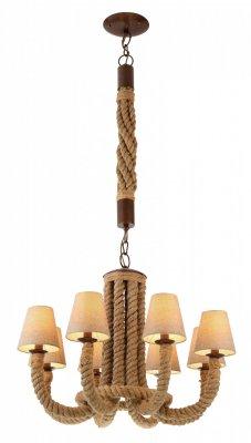 Подвесная люстра Arte lamp A8958LM-8BR CordaПодвесные<br><br><br>Установка на натяжной потолок: Да<br>S освещ. до, м2: 16<br>Крепление: Планка<br>Тип товара: Люстра подвесная<br>Скидка, %: 7<br>Тип лампы: накаливания / энергосбережения / LED-светодиодная<br>Тип цоколя: E14<br>Количество ламп: 8<br>MAX мощность ламп, Вт: 40<br>Диаметр, мм мм: 800<br>Длина цепи/провода, мм: 750<br>Высота, мм: 650<br>Оттенок (цвет): бежевый<br>Цвет арматуры: коричневый