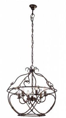 Подвесная люстра Arte lamp A8960SP-6GA BellatorПодвесные<br><br><br>Установка на натяжной потолок: Да<br>S освещ. до, м2: 12<br>Крепление: Крюк<br>Тип товара: Люстра подвесная<br>Тип лампы: накаливания / энергосбережения / LED-светодиодная<br>Тип цоколя: E14<br>Количество ламп: 6<br>MAX мощность ламп, Вт: 40<br>Диаметр, мм мм: 650<br>Длина цепи/провода, мм: 750<br>Высота, мм: 650<br>Цвет арматуры: золотой