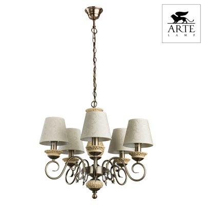 Люстра подвесная Arte lamp A9070LM-5AB IvoryПодвесные<br>Невероятно красивая и роскошная подвесная люстра Arte lamp A9070LM-5AB станет любимым предметом в Вашем доме! Она создана, чтобы украшать, очаровывать и создавать в комнате атмосферу праздника, радости и прекрасного настроения. Каждый элемент в ней тщательно продуман и гармонично сочетается с остальными деталями конструкции. Пять трапециевидных плафонов, выполненных из ткани, создают яркое и комфортное для зрения освещение на площади до 20 кв.м. Светлые оттенки идеально подходят в любую цветовую гамму помещения. В комплекте с настенными бра из этой же серии, люстра создаст в комнате уютную, полную положительной энергетики обстановку, и придаст интерьеру законченный и совершенный вид.<br><br>Установка на натяжной потолок: Да<br>S освещ. до, м2: 20<br>Крепление: Крюк<br>Тип лампы: накаливания / энергосбережения / LED-светодиодная<br>Тип цоколя: E14<br>Цвет арматуры: бронзовый<br>Количество ламп: 5<br>Ширина, мм: 580<br>Диаметр, мм мм: 580<br>Длина цепи/провода, мм: 570<br>Высота, мм: 480<br>MAX мощность ламп, Вт: 60