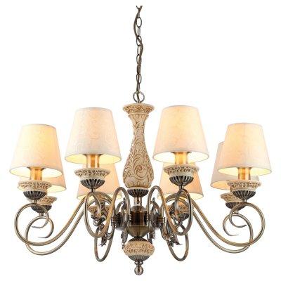 Люстра подвесная Arte lamp A9070LM-8AB IvoryПодвесные<br>Роскошная, элегантная подвесная люстра Arte lamp A9070LM-8AB станет любимым предметом в Вашем доме! Она создана, чтобы украшать, очаровывать и создавать в комнате атмосферу праздника, радости и прекрасного настроения. Каждый элемент в ней тщательно продуман и гармонично сочетается с остальными деталями конструкции. Восемь трапециевидных плафонов, выполненных из ткани, создают яркое и комфортное для зрения освещение на площади до 32 кв.м., поэтому наиболее выигрышно светильник будет смотреться в большой комнате с высоким потолком, например, гостиной, зале, кухне-столовой, холле и т.п. Светлые оттенки идеально подходят в любую цветовую гамму помещения. В комплекте с настенными бра из этой же серии, люстра создаст в комнате уютную обстановку, и придаст интерьеру законченный и совершенный вид.<br><br>Установка на натяжной потолок: Да<br>S освещ. до, м2: 32<br>Крепление: Крюк<br>Тип лампы: накаливания / энергосбережения / LED-светодиодная<br>Тип цоколя: E14<br>Цвет арматуры: бронзовый<br>Количество ламп: 8<br>Ширина, мм: 760<br>Диаметр, мм мм: 760<br>Длина цепи/провода, мм: 570<br>Высота, мм: 480<br>MAX мощность ламп, Вт: 60