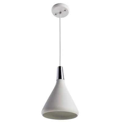 Светильник подвесной Arte lamp A9154SP-1WH CICLONEОдиночные<br><br><br>Тип товара: Светильник подвесной<br>Тип лампы: Накаливания / энергосбережения / светодиодная<br>Тип цоколя: E27<br>Количество ламп: 1<br>MAX мощность ламп, Вт: 60<br>Размеры: H27xW18xL18+шн/цп100<br>Цвет арматуры: белый