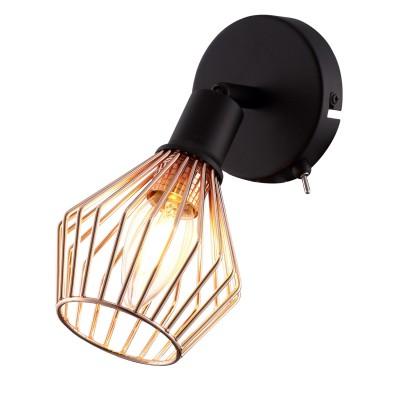 Светильник настенный Arte lamp A9163AP-1BK Gratoбра в стиле лофт<br><br><br>Тип цоколя: E14<br>Цвет арматуры: ЧЕРНЫЙ/красная латунь<br>Количество ламп: 1<br>Диаметр, мм мм: 110<br>Размеры: L18.5*W11*H12<br>Длина, мм: 190<br>Высота, мм: 190<br>MAX мощность ламп, Вт: 40W<br>Общая мощность, Вт: 40W