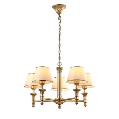A9185LM-5SG Arte lamp СветильникПодвесные<br><br><br>Установка на натяжной потолок: Да<br>S освещ. до, м2: 10<br>Крепление: крюк<br>Тип лампы: Накаливания / энергосбережения / светодиодная<br>Тип цоколя: E27<br>Цвет арматуры: Матовый золотой<br>Количество ламп: 5<br>Диаметр, мм мм: 620<br>Длина цепи/провода, мм: 580<br>Размеры: ?62*H100<br>Длина, мм: 620<br>Высота, мм: 390<br>MAX мощность ламп, Вт: 40W<br>Общая мощность, Вт: 40W
