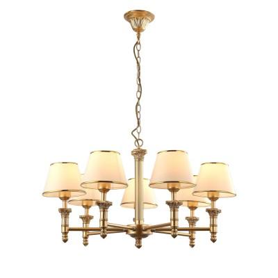 A9185LM-7SG Arte lamp СветильникПодвесные<br><br><br>Установка на натяжной потолок: Да<br>S освещ. до, м2: 14<br>Крепление: крюк<br>Тип лампы: Накаливания / энергосбережения / светодиодная<br>Тип цоколя: E27<br>Цвет арматуры: Матовый золотой<br>Количество ламп: 7<br>Диаметр, мм мм: 710<br>Длина цепи/провода, мм: 580<br>Размеры: ?72*H103<br>Длина, мм: 710<br>Высота, мм: 430<br>MAX мощность ламп, Вт: 40W<br>Общая мощность, Вт: 40W