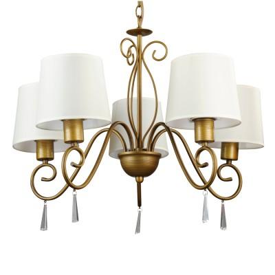 Люстра Arte lamp A9239LM-5BR CarolinaПодвесные<br>Подвесная люстра Arte lamp A9239LM-5ВR Carolina отвечает всем требованиям даже самых взыскательных ценителей классического стиля оформления интерьера! Матовые белые плафоны трапециевидной формы создают комфортное для зрения освещение комнаты площадью до тринадцати кв.м. и гармонично сочетаются с изящной арматурой оттенка «античная бронза», украшенной декоративными эелемантами и прозрачными подвесками-кристаллами. Особенно выигрышно светильник будет выглядеть в помещении с похожей цветовой гаммой, дополнив и подчеркнув его стиль и дизайн.<br><br>Установка на натяжной потолок: Да<br>S освещ. до, м2: 14<br>Крепление: Крюк<br>Тип лампы: накаливания / энергосбережения / LED-светодиодная<br>Тип цоколя: E27<br>Количество ламп: 5<br>Ширина, мм: 650<br>MAX мощность ламп, Вт: 40<br>Диаметр, мм мм: 650<br>Длина цепи/провода, мм: 550<br>Высота, мм: 550<br>Цвет арматуры: бронзовый