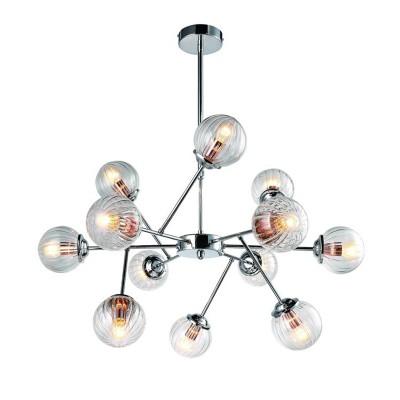 Светильник подвесной Arte lamp A9276LM-12CC Aranciaлюстры хай тек потолочные<br><br><br>Установка на натяжной потолок: Да<br>S освещ. до, м2: 24<br>Крепление: Планка<br>Тип лампы: Накаливания / энергосбережения / светодиодная<br>Тип цоколя: E14<br>Цвет арматуры: Серебристый хром<br>Количество ламп: 12<br>Диаметр, мм мм: 820<br>Длина цепи/провода, мм: 800<br>Размеры: ?82*H80-110<br>Длина, мм: 820<br>Высота, мм: 300<br>MAX мощность ламп, Вт: 40W<br>Общая мощность, Вт: 40W