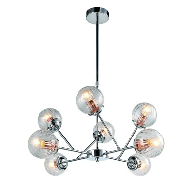 A9276LM-8CC Arte lamp СветильникПодвесные<br><br><br>S освещ. до, м2: 16<br>Крепление: Планка<br>Тип лампы: Накаливания / энергосбережения / светодиодная<br>Тип цоколя: E14<br>Количество ламп: 8<br>MAX мощность ламп, Вт: 40W<br>Диаметр, мм мм: 730<br>Длина цепи/провода, мм: 800<br>Размеры: ?73*H60-90<br>Длина, мм: 730<br>Высота, мм: 100<br>Цвет арматуры: Серебристый хром<br>Общая мощность, Вт: 40W