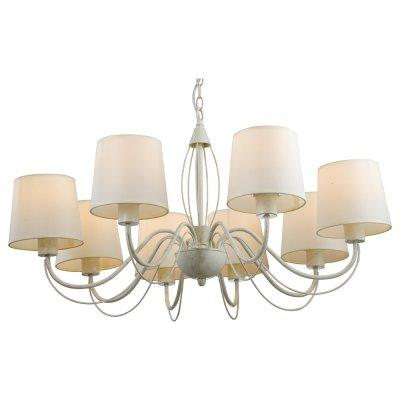Люстра Arte lamp A9310LM-8WG OrleanПодвесные<br>Компания «Светодом» предлагает широкий ассортимент люстр от известных производителей. Представленные в нашем каталоге товары выполнены из современных материалов и обладают отличным качеством. Благодаря широкому ассортименту Вы сможете найти у нас люстру под любой интерьер. Мы предлагаем как классические варианты, так и современные модели, отличающиеся лаконичностью и простотой форм.  Стильная люстра Arte lamp A9310LM-8WG станет украшением любого дома. Эта модель от известного производителя не оставит равнодушным ценителей красивых и оригинальных предметов интерьера. Люстра Arte lamp A9310LM-8WG обеспечит равномерное распределение света по всей комнате. При выборе обратите внимание на характеристики, позволяющие приобрести наиболее подходящую модель. Купить понравившуюся люстру по доступной цене Вы можете в интернет-магазине «Светодом».<br><br>Установка на натяжной потолок: Да<br>S освещ. до, м2: 22<br>Крепление: Крюк<br>Тип лампы: накаливания / энергосбережения / LED-светодиодная<br>Тип цоколя: E27<br>Количество ламп: 8<br>Ширина, мм: 840<br>MAX мощность ламп, Вт: 40<br>Диаметр, мм мм: 840<br>Длина цепи/провода, мм: 620<br>Высота, мм: 340<br>Цвет арматуры: белый с золотистой патиной