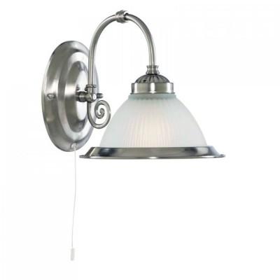 Светильник бра Arte Lamp A9366AP-1SS American DinerКлассические<br><br><br>S освещ. до, м2: 4<br>Тип лампы: накаливания / энергосбережения / LED-светодиодная<br>Тип цоколя: E27<br>Цвет арматуры: серый<br>Количество ламп: 1<br>Ширина, мм: 200<br>Высота, мм: 210<br>MAX мощность ламп, Вт: 60