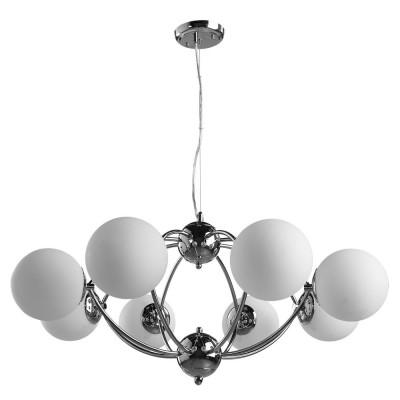 Светильник подвесной Arte lamp A9432SP-8CC PALLAсовременные подвесные люстры модерн<br>Компания «Светодом» предлагает широкий ассортимент люстр от известных производителей. Представленные в нашем каталоге товары выполнены из современных материалов и обладают отличным качеством. Благодаря широкому ассортименту Вы сможете найти у нас люстру под любой интерьер. Мы предлагаем как классические варианты, так и современные модели, отличающиеся лаконичностью и простотой форм.  Стильная люстра Arte lamp A9432SP-8CC станет украшением любого дома. Эта модель от известного производителя не оставит равнодушным ценителей красивых и оригинальных предметов интерьера. Люстра Arte lamp A9432SP-8CC обеспечит равномерное распределение света по всей комнате. При выборе обратите внимание на характеристики, позволяющие приобрести наиболее подходящую модель. Купить понравившуюся люстру по доступной цене Вы можете в интернет-магазине «Светодом».<br><br>Установка на натяжной потолок: Да<br>S освещ. до, м2: 16<br>Крепление: Планка<br>Тип лампы: Накаливания / энергосбережения / светодиодная<br>Тип цоколя: E27<br>Цвет арматуры: серебристый<br>Количество ламп: 8<br>Диаметр, мм мм: 830<br>Размеры: H40xW83xL83+шн/цп100<br>Высота, мм: 450 - 1400<br>MAX мощность ламп, Вт: 40