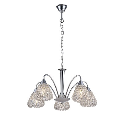 A9466LM-5CC Arte lamp СветильникПодвесные<br><br><br>Установка на натяжной потолок: Да<br>S освещ. до, м2: 10<br>Крепление: крюк<br>Тип лампы: Накаливания / энергосбережения / светодиодная<br>Тип цоколя: E14<br>Цвет арматуры: Серебристый хром<br>Количество ламп: 5<br>Диаметр, мм мм: 560<br>Длина цепи/провода, мм: 500<br>Размеры: ?56*H26<br>Длина, мм: 560<br>Высота, мм: 330<br>MAX мощность ламп, Вт: 40W<br>Общая мощность, Вт: 40W