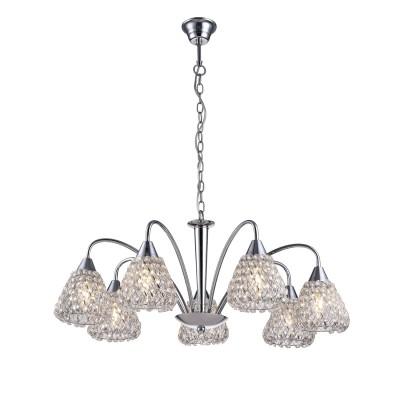 A9466LM-7CC Arte lamp СветильникПодвесные<br><br><br>Установка на натяжной потолок: Да<br>S освещ. до, м2: 14<br>Крепление: крюк<br>Тип лампы: Накаливания / энергосбережения / светодиодная<br>Тип цоколя: E14<br>Цвет арматуры: Серебристый хром<br>Количество ламп: 7<br>Диаметр, мм мм: 700<br>Длина цепи/провода, мм: 500<br>Размеры: ?70*H26<br>Длина, мм: 700<br>Высота, мм: 330<br>MAX мощность ламп, Вт: 40W<br>Общая мощность, Вт: 40W