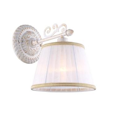 Светильник Arte lamp A9513AP-1WG JessКлассические<br><br><br>Тип лампы: накаливания / энергосбережения / LED-светодиодная<br>Тип цоколя: E14<br>Цвет арматуры: белый с золотистой патиной<br>Количество ламп: 1<br>Ширина, мм: 180<br>Длина, мм: 250<br>Высота, мм: 230<br>MAX мощность ламп, Вт: 40
