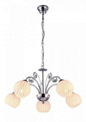 Подвесная люстра Arte lamp A9524LM-5CC UvaПодвесные<br><br><br>Установка на натяжной потолок: Да<br>S освещ. до, м2: 10<br>Крепление: Крюк<br>Тип товара: Люстра подвесная<br>Скидка, %: 10<br>Тип лампы: накаливания / энергосбережения / LED-светодиодная<br>Тип цоколя: E14<br>Количество ламп: 5<br>MAX мощность ламп, Вт: 40<br>Диаметр, мм мм: 600<br>Длина цепи/провода, мм: 560<br>Высота, мм: 310<br>Оттенок (цвет): белый<br>Цвет арматуры: серебристый
