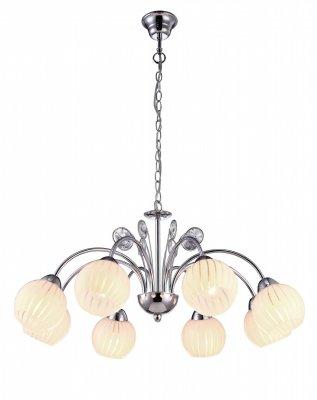 Подвесная люстра Arte lamp A9524LM-8CC UvaПодвесные<br><br><br>Установка на натяжной потолок: Да<br>S освещ. до, м2: 16<br>Крепление: Крюк<br>Тип товара: Люстра подвесная<br>Скидка, %: 14<br>Тип лампы: накаливания / энергосбережения / LED-светодиодная<br>Тип цоколя: E14<br>Количество ламп: 8<br>MAX мощность ламп, Вт: 40<br>Диаметр, мм мм: 740<br>Длина цепи/провода, мм: 560<br>Высота, мм: 300<br>Оттенок (цвет): белый<br>Цвет арматуры: серебристый