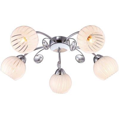Потолочная люстра Arte lamp A9524PL-5CC UvaПотолочные<br>Компания «Светодом» предлагает широкий ассортимент люстр от известных производителей. Представленные в нашем каталоге товары выполнены из современных материалов и обладают отличным качеством. Благодаря широкому ассортименту Вы сможете найти у нас люстру под любой интерьер. Мы предлагаем как классические варианты, так и современные модели, отличающиеся лаконичностью и простотой форм.  Стильная люстра Arte lamp A9524PL-5CC станет украшением любого дома. Эта модель от известного производителя не оставит равнодушным ценителей красивых и оригинальных предметов интерьера. Люстра Arte lamp A9524PL-5CC обеспечит равномерное распределение света по всей комнате. При выборе обратите внимание на характеристики, позволяющие приобрести наиболее подходящую модель. Купить понравившуюся люстру по доступной цене Вы можете в интернет-магазине «Светодом».<br><br>Установка на натяжной потолок: Ограничено<br>S освещ. до, м2: 10<br>Крепление: Планка<br>Тип лампы: накаливания / энергосбережения / LED-светодиодная<br>Тип цоколя: E14<br>Количество ламп: 5<br>MAX мощность ламп, Вт: 40<br>Диаметр, мм мм: 600<br>Высота, мм: 180<br>Оттенок (цвет): белый<br>Цвет арматуры: серебристый