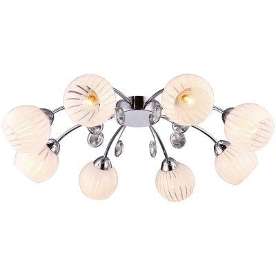 Потолочная люстра Arte lamp A9524PL-8CC UvaПотолочные<br>Компания «Светодом» предлагает широкий ассортимент люстр от известных производителей. Представленные в нашем каталоге товары выполнены из современных материалов и обладают отличным качеством. Благодаря широкому ассортименту Вы сможете найти у нас люстру под любой интерьер. Мы предлагаем как классические варианты, так и современные модели, отличающиеся лаконичностью и простотой форм.  Стильная люстра Arte lamp A9524PL-8CC станет украшением любого дома. Эта модель от известного производителя не оставит равнодушным ценителей красивых и оригинальных предметов интерьера. Люстра Arte lamp A9524PL-8CC обеспечит равномерное распределение света по всей комнате. При выборе обратите внимание на характеристики, позволяющие приобрести наиболее подходящую модель. Купить понравившуюся люстру по доступной цене Вы можете в интернет-магазине «Светодом».<br><br>Установка на натяжной потолок: Ограничено<br>S освещ. до, м2: 16<br>Крепление: Планка<br>Тип лампы: накаливания / энергосбережения / LED-светодиодная<br>Тип цоколя: E14<br>Количество ламп: 8<br>MAX мощность ламп, Вт: 40<br>Диаметр, мм мм: 700<br>Высота, мм: 180<br>Оттенок (цвет): белый<br>Цвет арматуры: серебристый