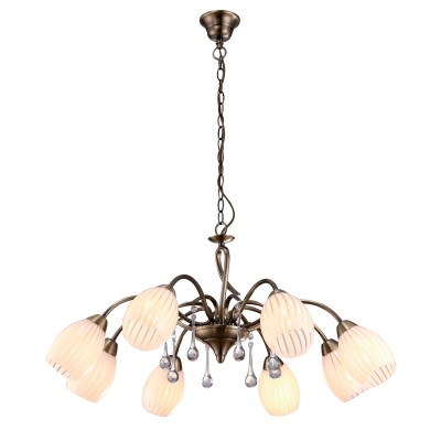Подвесная люстра Arte lamp A9534LM-8AB CornioloПодвесные<br>Компания «Светодом» предлагает широкий ассортимент люстр от известных производителей. Представленные в нашем каталоге товары выполнены из современных материалов и обладают отличным качеством. Благодаря широкому ассортименту Вы сможете найти у нас люстру под любой интерьер. Мы предлагаем как классические варианты, так и современные модели, отличающиеся лаконичностью и простотой форм.  Стильная люстра Arte lamp A9534LM-8AB станет украшением любого дома. Эта модель от известного производителя не оставит равнодушным ценителей красивых и оригинальных предметов интерьера. Люстра Arte lamp A9534LM-8AB обеспечит равномерное распределение света по всей комнате. При выборе обратите внимание на характеристики, позволяющие приобрести наиболее подходящую модель. Купить понравившуюся люстру по доступной цене Вы можете в интернет-магазине «Светодом».<br><br>Установка на натяжной потолок: Да<br>S освещ. до, м2: 16<br>Крепление: Крюк<br>Тип лампы: накаливания / энергосбережения / LED-светодиодная<br>Тип цоколя: E14<br>Количество ламп: 8<br>MAX мощность ламп, Вт: 40<br>Диаметр, мм мм: 720<br>Длина цепи/провода, мм: 570<br>Высота, мм: 360<br>Оттенок (цвет): белый<br>Цвет арматуры: бронзовый