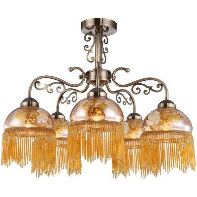 Потолочная люстра Arte lamp A9560PL-5AB PerlinaПотолочные<br><br><br>Установка на натяжной потолок: Да<br>S освещ. до, м2: 10<br>Крепление: Планка<br>Тип товара: Люстра<br>Скидка, %: 45<br>Тип лампы: накаливания / энергосбережения / LED-светодиодная<br>Тип цоколя: E27<br>Количество ламп: 5<br>MAX мощность ламп, Вт: 40<br>Диаметр, мм мм: 620<br>Высота, мм: 470<br>Оттенок (цвет): желтый<br>Цвет арматуры: бронзовый