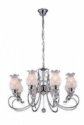 Подвесная люстра Arte lamp A9561LM-8CC BallerinaПодвесные<br><br><br>Установка на натяжной потолок: Да<br>S освещ. до, м2: 16<br>Крепление: Крюк<br>Тип товара: Люстра подвесная<br>Скидка, %: 57<br>Тип лампы: накаливания / энергосбережения / LED-светодиодная<br>Тип цоколя: E14<br>Количество ламп: 8<br>MAX мощность ламп, Вт: 40<br>Диаметр, мм мм: 640<br>Длина цепи/провода, мм: 560<br>Высота, мм: 410<br>Оттенок (цвет): белый<br>Цвет арматуры: серебристый