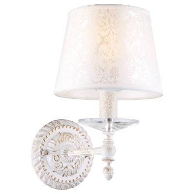 Светильник бра Arte lamp A9566AP-1WG GRANNYКлассические<br><br><br>Тип лампы: Накаливания / энергосбережения / светодиодная<br>Тип цоколя: E14<br>Количество ламп: 1<br>Ширина, мм: 180<br>MAX мощность ламп, Вт: 40<br>Длина, мм: 250<br>Высота, мм: 290<br>Цвет арматуры: белый с золотистой патиной