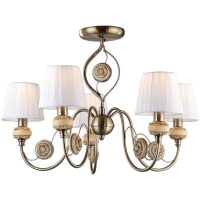 Потолочная люстра Arte lamp A9583PL-5AB IntaglioПотолочные<br><br><br>Установка на натяжной потолок: Да<br>S освещ. до, м2: 10<br>Крепление: Планка<br>Тип товара: Люстра<br>Скидка, %: 17<br>Тип лампы: накаливания / энергосбережения / LED-светодиодная<br>Тип цоколя: E14<br>Количество ламп: 5<br>MAX мощность ламп, Вт: 40<br>Диаметр, мм мм: 680<br>Высота, мм: 440<br>Оттенок (цвет): белый<br>Цвет арматуры: бронзовый